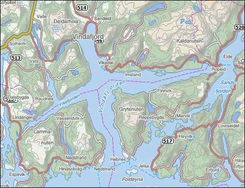 kart vindafjord Ka e Vindafjord,   kart vindafjord